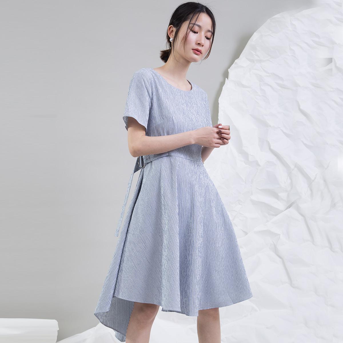 夏季新款女装条纹修身连衣裙休闲短袖中长款连衣裙纹修身休闲短袖A字连衣裙