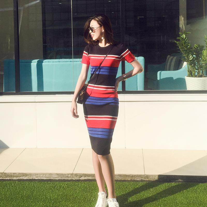 2017新品春夏季条纹包臀裙子修身显瘦女短袖中长款冰丝针织连衣裙