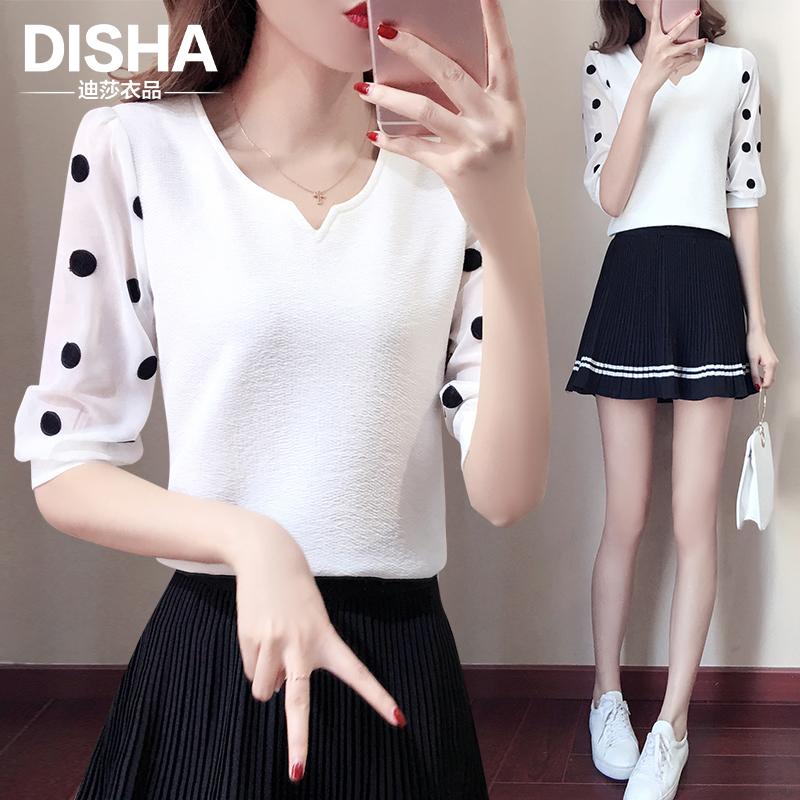 修身蕾丝雪纺衫夏装新款韩版显瘦蕾丝雪纺衫百搭短袖显瘦蕾丝雪纺衫