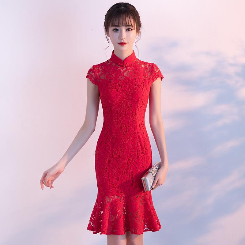 春秋季新款红色时尚新娘小旗袍时尚修身鱼尾结婚旗袍短款修身结婚新娘旗袍