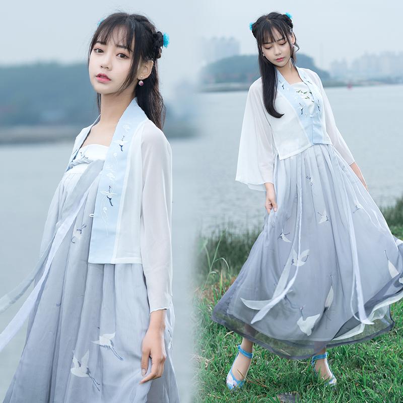 古典女装公主仙女改良汉服渔舟唱晚广袖襦裙古典女装日常广袖襦裙中国风套装汉服