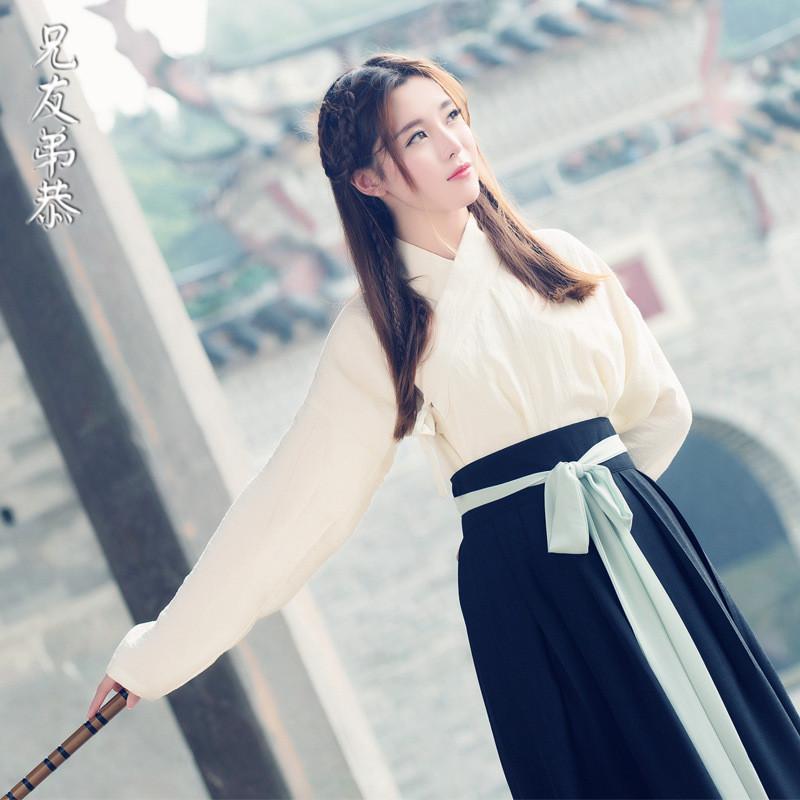 民族风女装上衣汉服古典绣花纯色汉服古装纯色民族风交领系带汉服