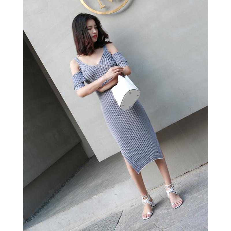 冰丝露肩吊带针织连衣裙长款修身包臀冰丝针织裙包臀短袖性感冰丝长裙
