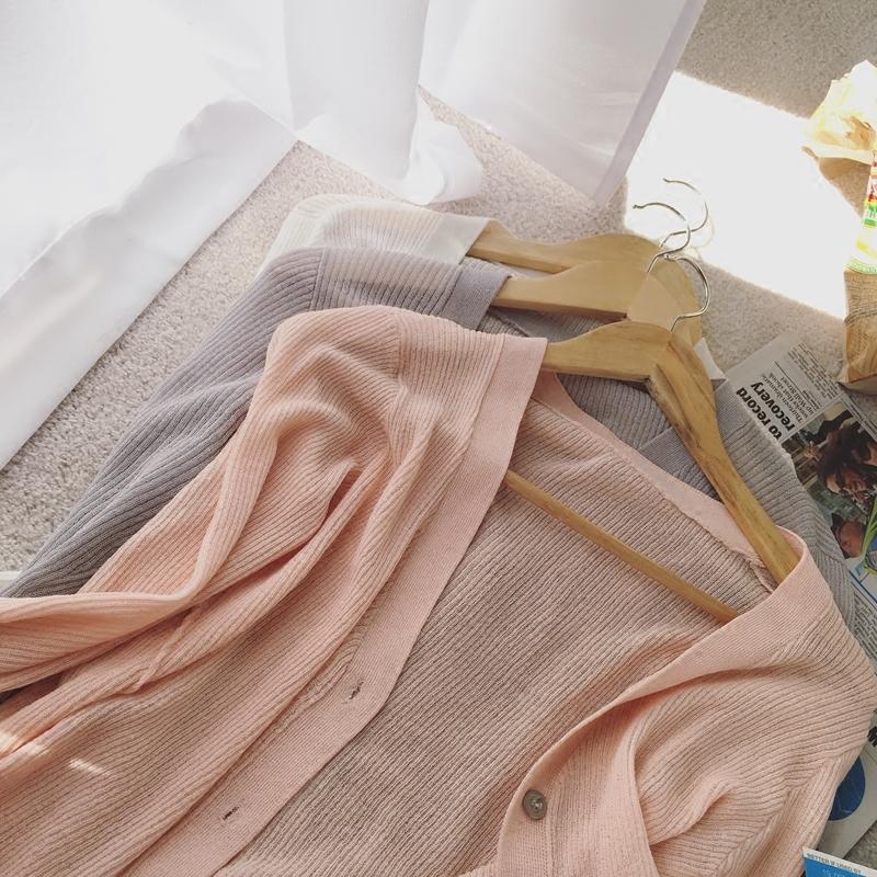 韩版纯色v领空调衫v领显瘦冰丝空调衫薄款开衫防晒冰丝空调衫