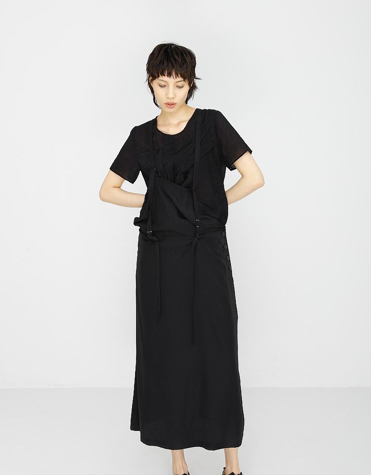 复杂拼接背带裙日本小众设计Yohji山本耀司风格