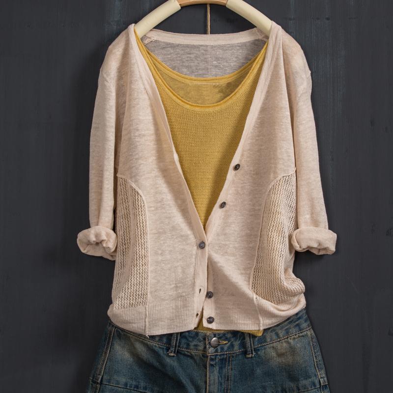 夏季新款显瘦宽松薄空调衫防晒棉麻针织空调开衫新款棉麻七分袖薄空调衫