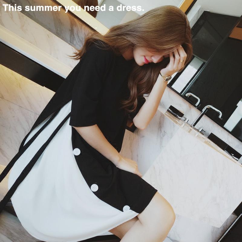 原创设计夏季冰丝连衣裙夏季拼接冰丝拼色连衣裙中袖圆领宽松冰丝连衣裙