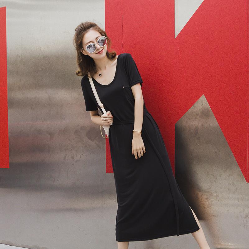 夏季新款韩版冰丝连衣裙露背纯色V领冰丝连衣裙修身莫代尔冰丝长裙
