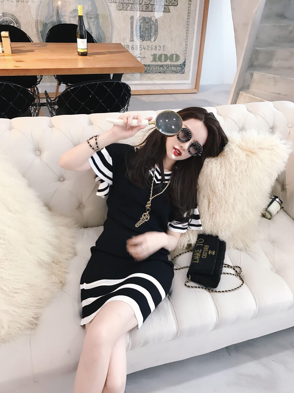 超好质量凉爽冰丝连衣裙麻针织黑色白边冰丝连衣裙荷叶袖v领实穿冰丝麻针织连衣裙