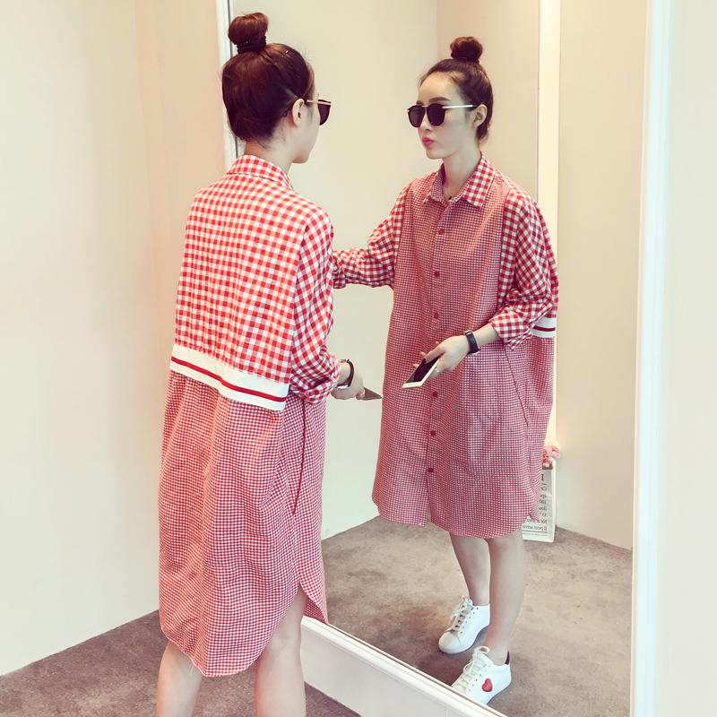 秋装新款宽松长袖衬衣连衣裙新款女装格子衬衫连衣裙新款韩版女装翻领长款宽松连衣裙