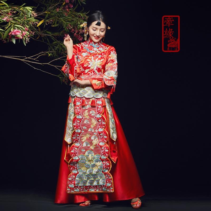 秋冬新款中式礼服秀禾服嫁衣长袖新娘结婚龙凤褂新娘结婚长袖中式秀禾服