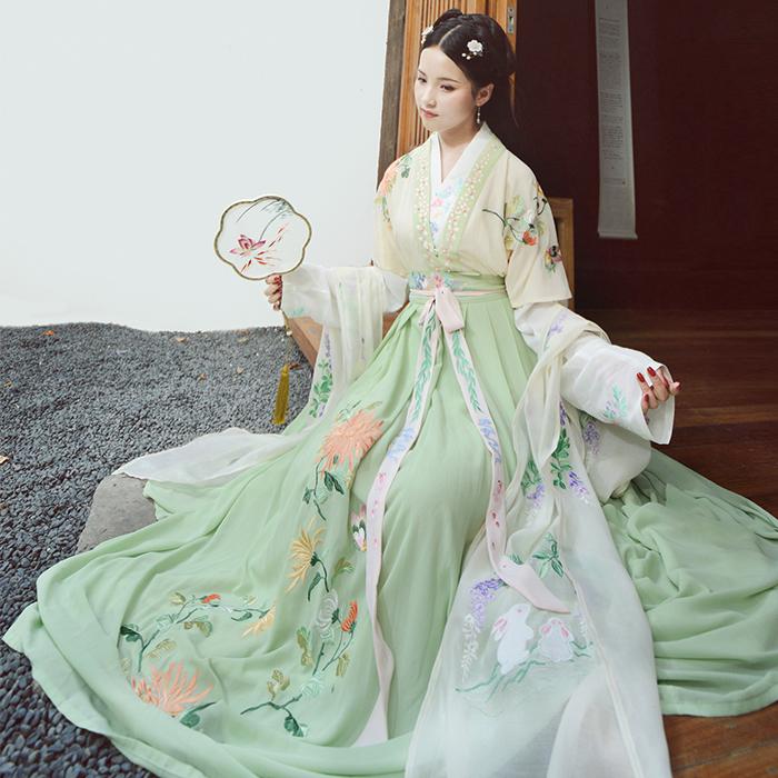 古典女装对襟半臂浅交领汉服锦绣年华交领上衣汉服古典女装一片式齐腰襦裙汉服