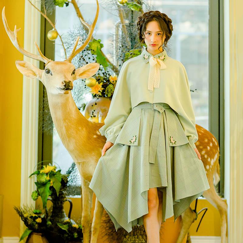 新款女装秋装复古不规则摆半身裙女装秋装新款格子腰封半身裙新款女装韩版秋装复古不规则半身裙