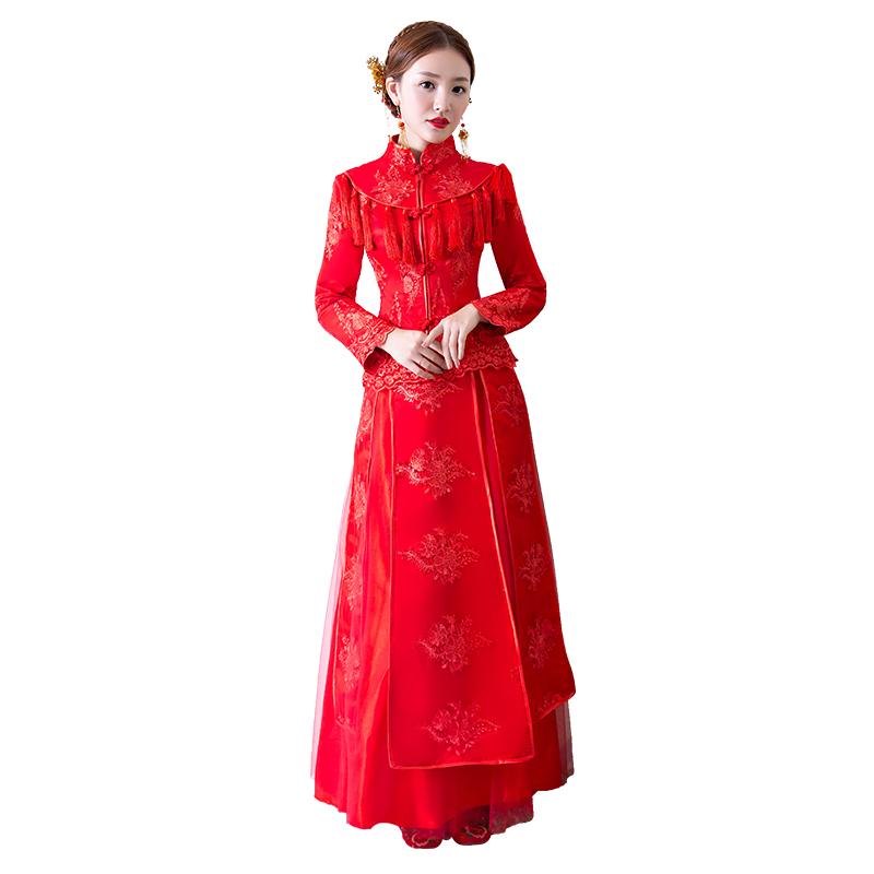 新款秋冬春新娘结婚红色长款秀禾服显瘦复古中式礼服秀禾服嫁衣新娘结婚复古中式秀禾服敬酒服