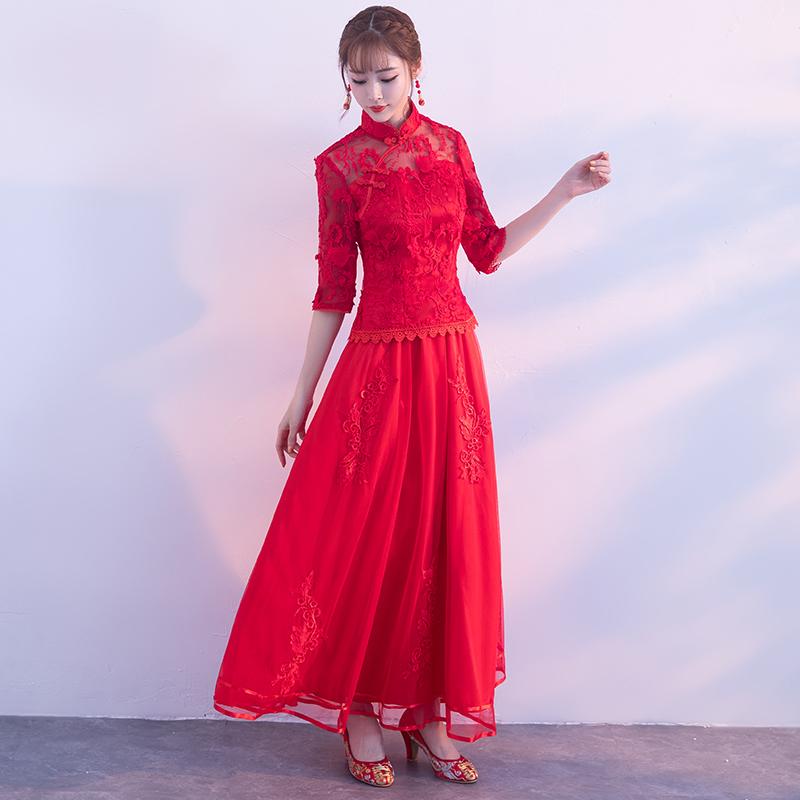秋冬长款结婚新娘旗袍中国风修身新娘旗袍长款结婚中式新娘旗袍礼服