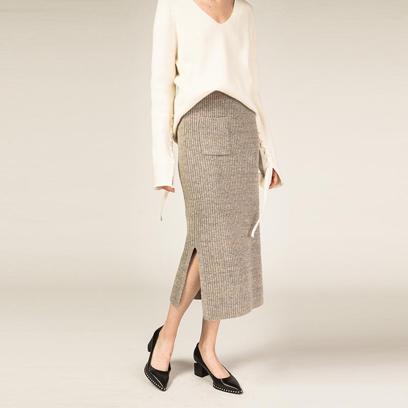 秋冬装新款定制款花线灰针织半身裙新款女装冬装美丽诺羊毛针织半身裙口袋中长款羊毛针织半身裙