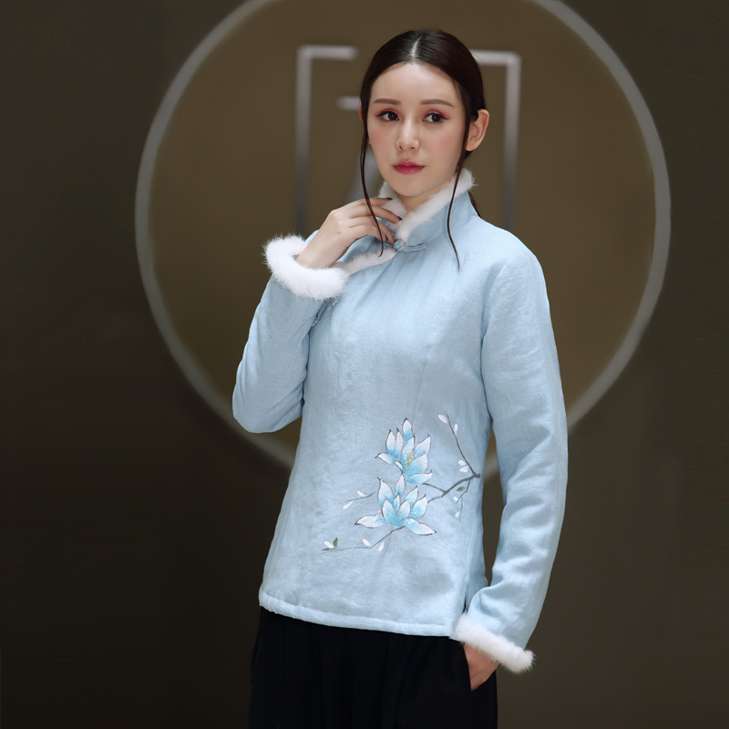 秋冬新款手绘盘扣改良旗袍日常穿着秋冬新款中国风改良旗袍