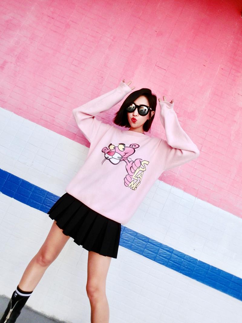 冬装新款女装时尚动漫套头毛衣韩版女装冬装动漫印花套头毛衣韩版新款冬装宽松百搭针织衫