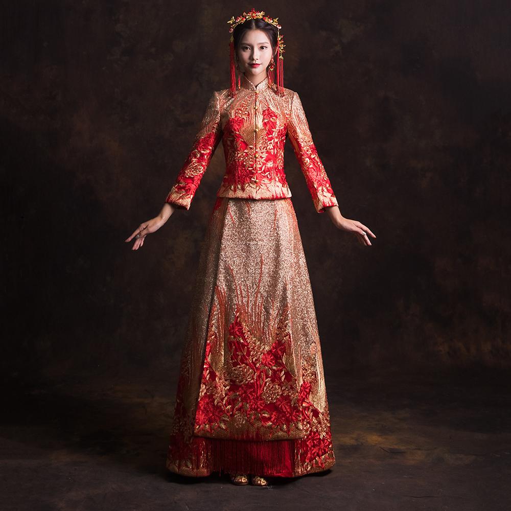 新娘冬季新款结婚修身秀禾服中式礼服结婚嫁衣秀禾服原创结婚敬酒女龙凤褂