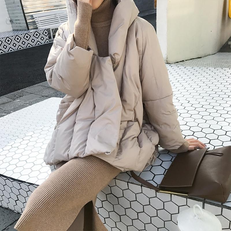 冬装新款韩版鸭绒白色立领加厚羽绒服韩版女装冬装短款鸭绒茧型加厚立领外套新款短款韩版鸭绒羽绒服
