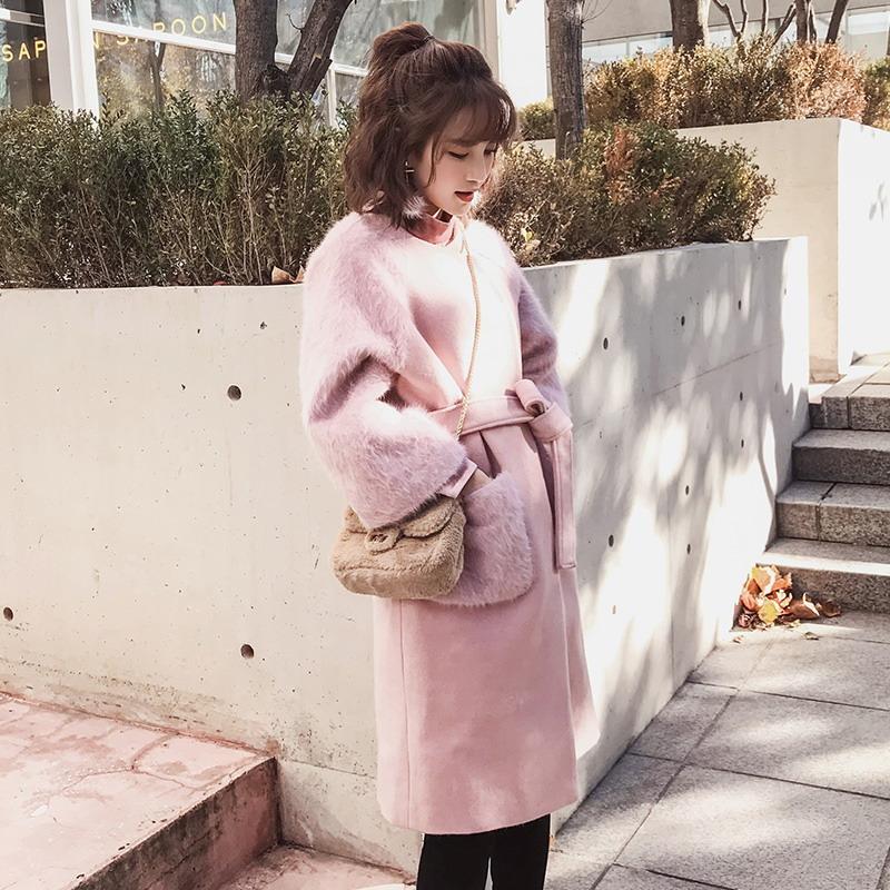 冬装新款女装小个子加厚粉色毛呢外套韩版女装冬装中长款加厚森系呢子大衣韩版女装小个子粉色系呢子大衣