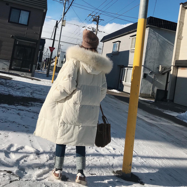 冬装新款女装宽松百搭加厚羽绒服中长款韩版女装加厚大毛领羽绒衣宽松百搭加厚大毛领韩版羽绒服