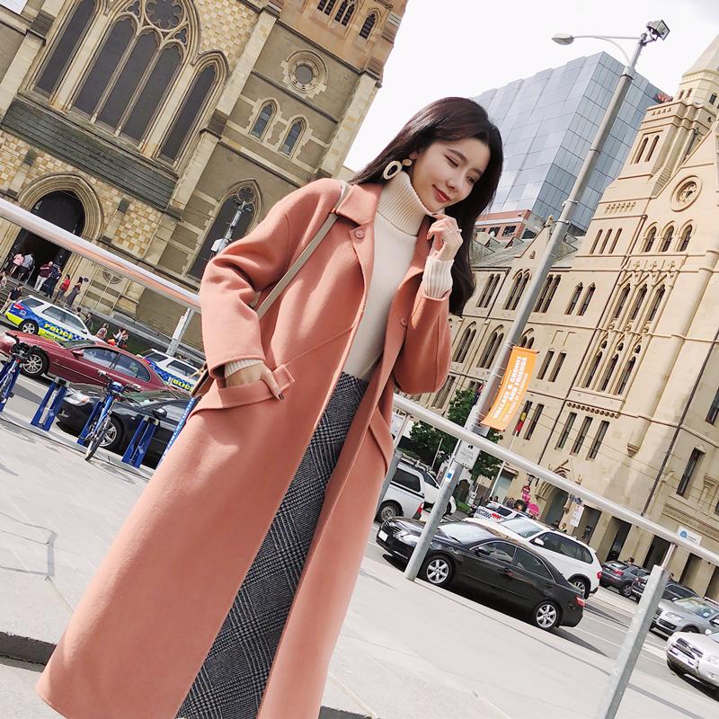 冬装新款韩版女装双面羊绒呢子大衣韩版女装新款直筒100%羊毛呢大衣中长款双面羊绒呢子外套