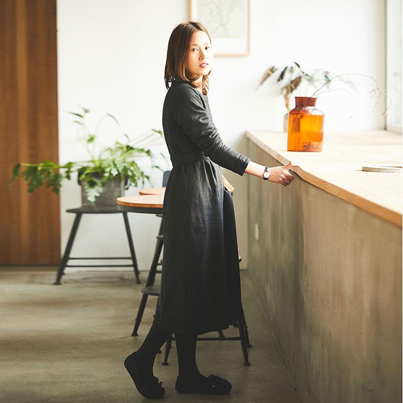 冬装新款女装长袖圆领亚麻连衣裙女装新款冬装原创设计亚麻加绒连衣裙长袖圆领亚麻加绒连衣裙