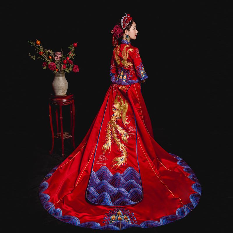 冬季新款新娘结婚中式秀禾服中式复古蓝色大拖尾秀禾服冬季新款结婚大拖尾秀禾服