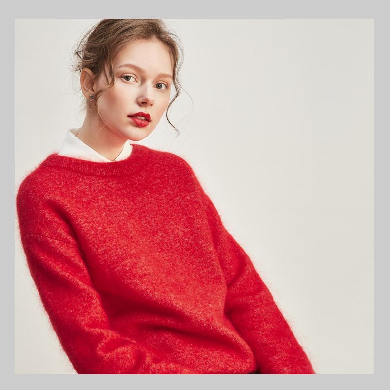 2018新款女装冬装红色马海毛针织衫冬装女装新款精选套头宽松针织衫红色马海毛圆领针织毛衣