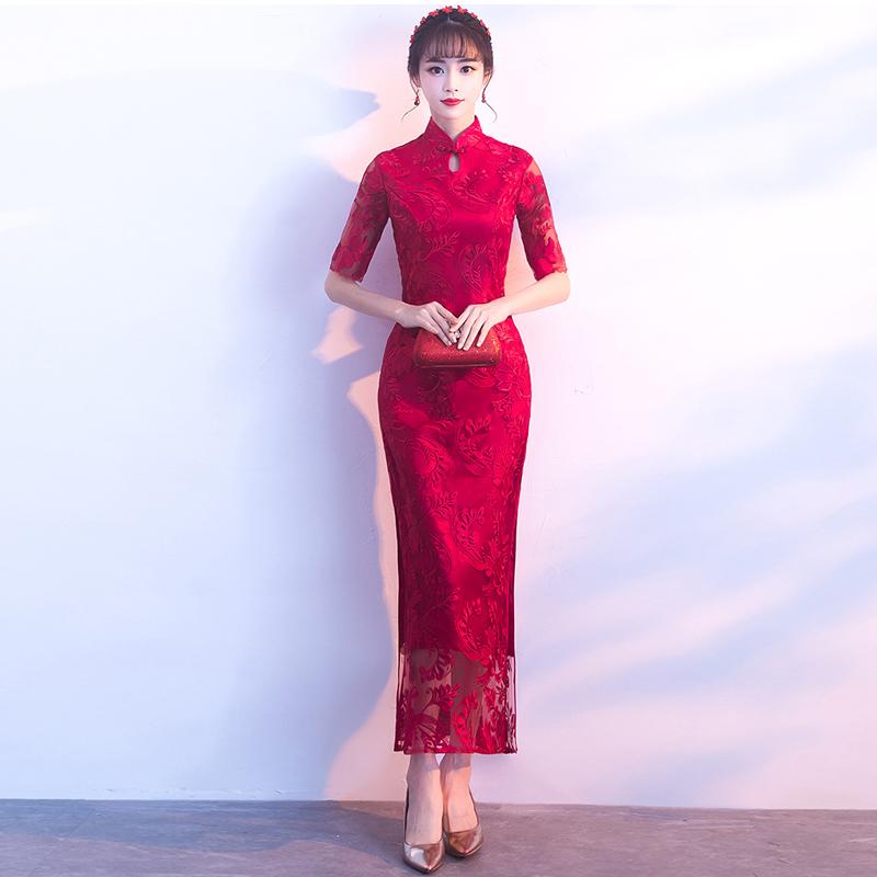 新款优雅红色新娘旗袍敬酒服结婚长款修身中国风结婚旗袍冬季新娘长款修身旗袍裙