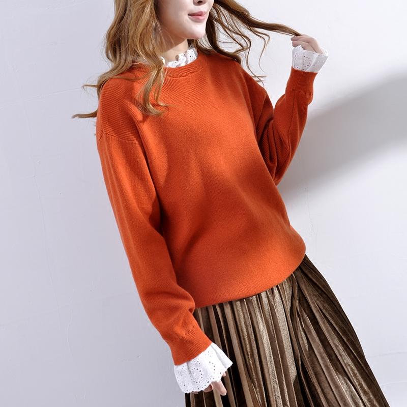 2018春季新款女装糖果色宽松蕾丝羊毛衫女装春装新款花边领假两件毛衣春季新款蕾丝衫上衣