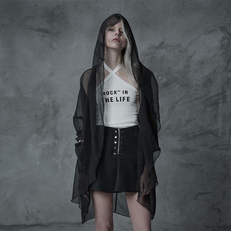 新款女装夏装中长款超薄暗黑空调衫韩版女装夏季暗黑朋克潮流防晒空调衫个性宽松中长款超薄空调衫