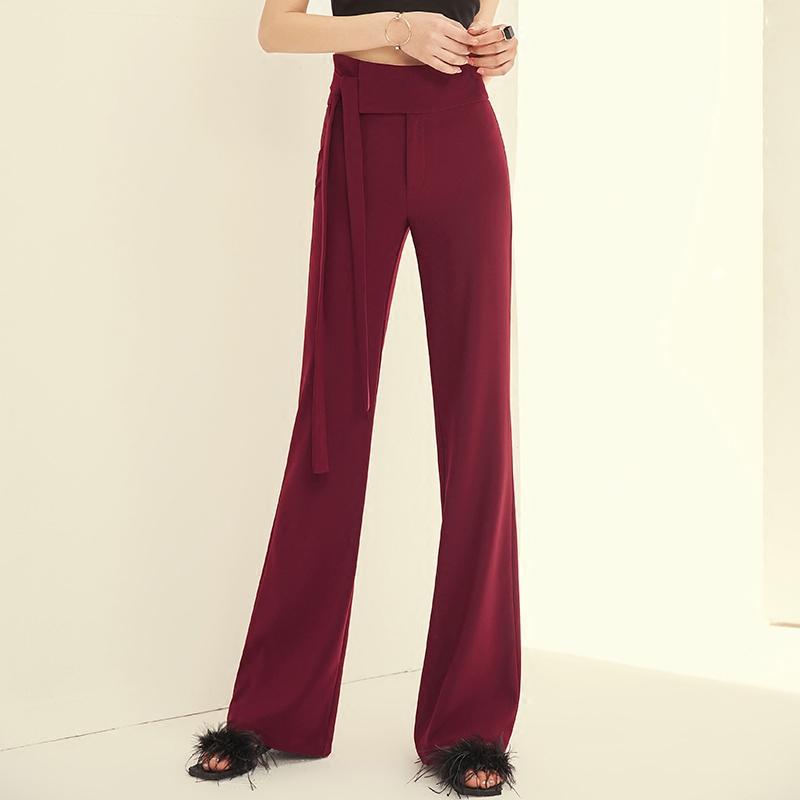 夏季薄款新款女装酒红色高腰阔腿裤女装夏季新款显瘦时尚垂顺直筒裤