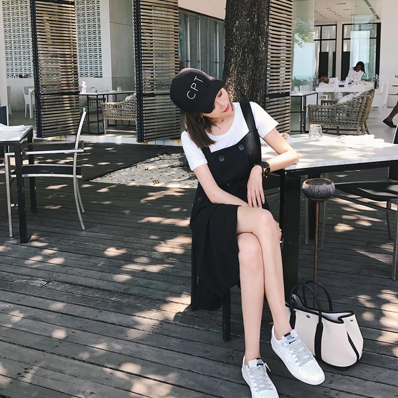 新款女装定制款西装式双排扣背带裙夏季学院风无袖中长款背带裙夏季港风学生双排扣背带连衣裙