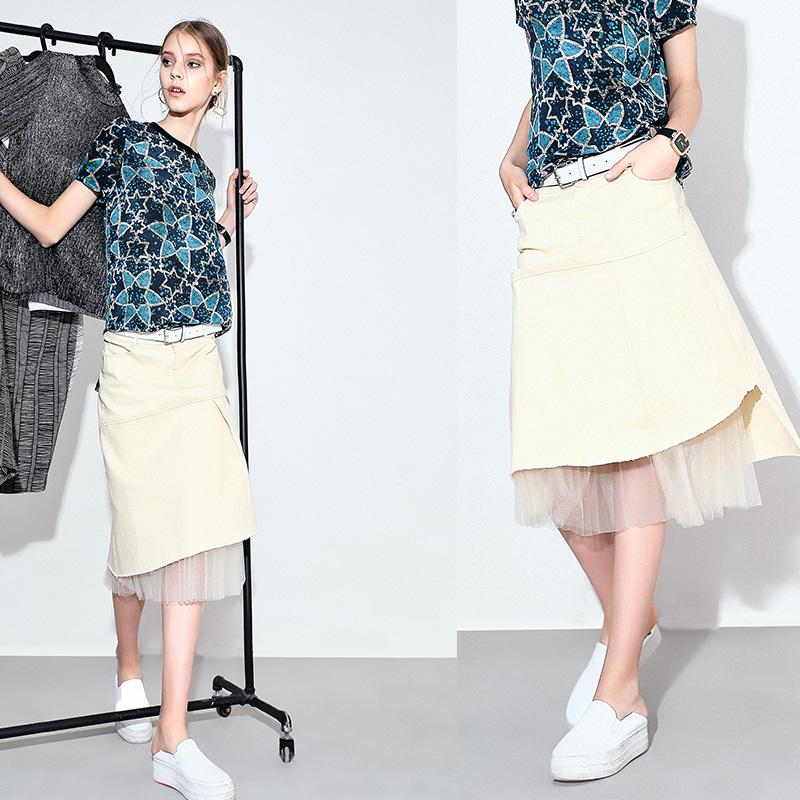 新款女装夏装欧洲站不规则下摆拼接网纱半身裙夏季新款自然腰不规则下摆A字半身裙
