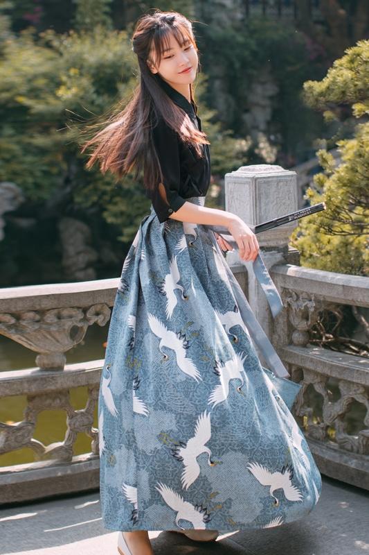 夏秋古典女装中国风日常汉服夏秋复古民族风改良汉元素女装古典复古套装汉元素上衣+中国风下裙