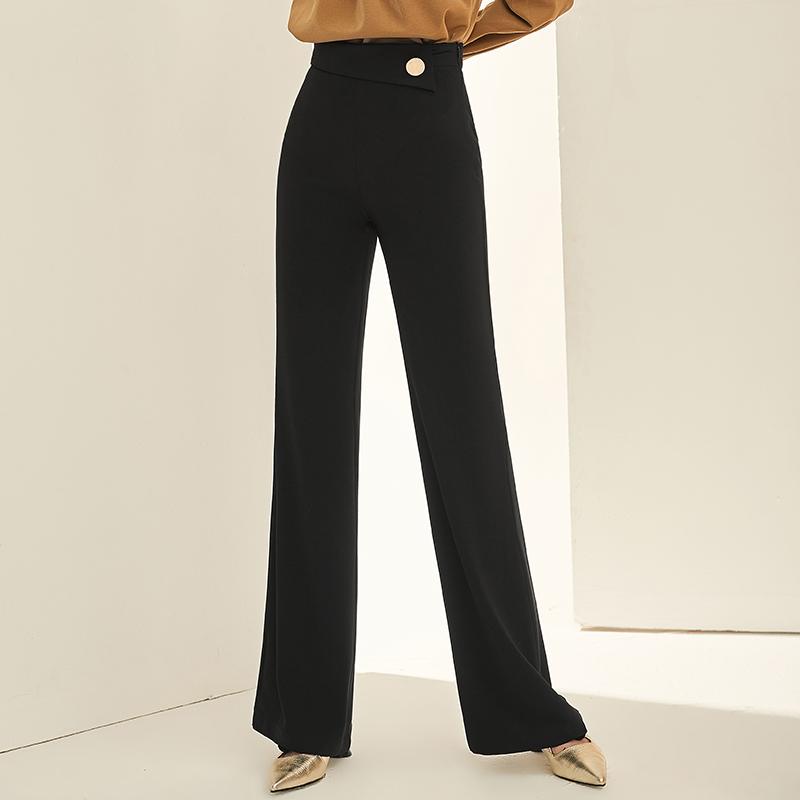 夏季新款女装通勤OL时尚小直筒裤高腰OL黑色薄款阔腿裤