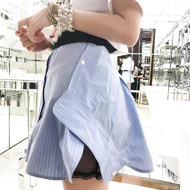 夏季新款女装不规则开叉条纹显瘦高腰半身裙夏季新品不规则时尚显瘦百搭高腰半身裙欧美风格高腰条纹显瘦半身裙