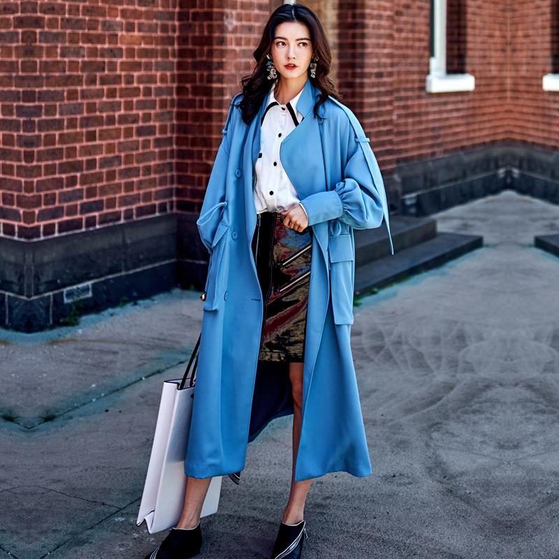 秋装新款复古军装风湖蓝色超长款风衣秋装新款女装双排扣宽松收腰系带外套蓝色超长款西装领双排扣风衣