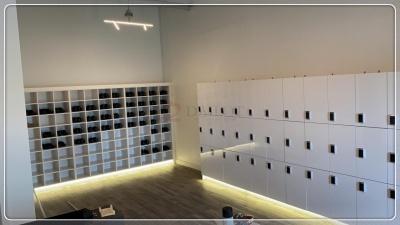 高光白色健身房更衣柜瑜伽馆储物柜九门更衣柜