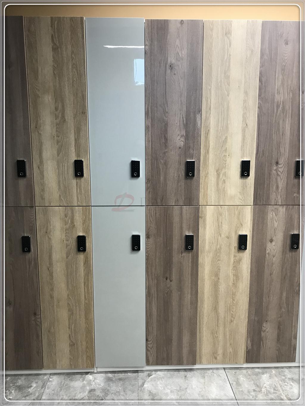 国外大型单位员工更衣柜储物柜高光混搭木纹更衣柜