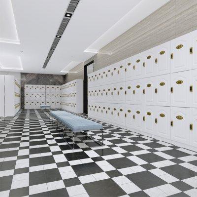 木质白色时尚轻奢更衣柜健身房会所瑜伽馆美容院更衣储物柜定做