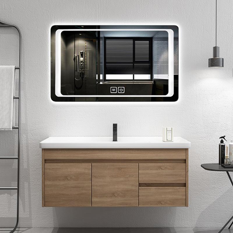 挂墙式现代简约浴室柜组合小户型太空铝浴室柜镜柜厂家定制批发