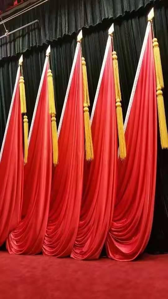 舞台十面旗帜 舞台会议红旗 舞台旗座 舞台旗穗 舞台旗尖