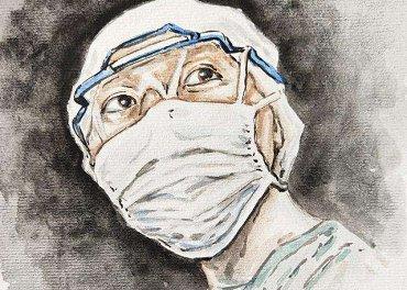 新型冠状病毒疫情期间医生们在...