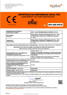 CE certificate for KN95 C2