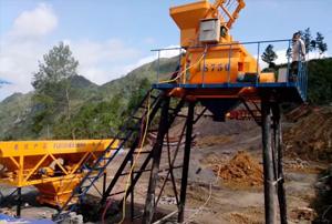 六盘水市小型HZS35混凝土搅拌站调试成功