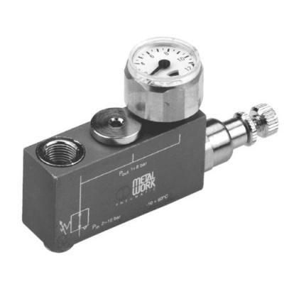 METAL WORK麦特沃克压缩空气调节减压器,单级,小型,带有压力计