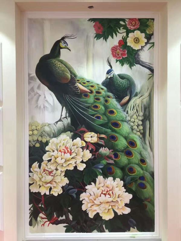 广州客户客厅背景墙彩绘 电视背景墙彩绘 别墅墙绘 孔雀